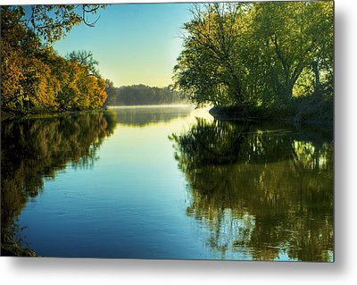 Rock River Autumn Morning Metal Print