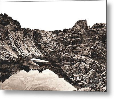 Metal Print featuring the photograph Rock - Sepia by Rebecca Harman
