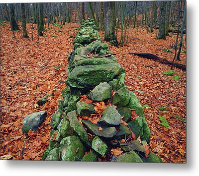 Rock Wall Along The Appalachian Trail In New Jersey Metal Print by Raymond Salani III