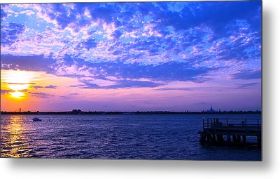 Metal Print featuring the photograph Rockaway Point Dock Sunset Violet Orange by Maureen E Ritter