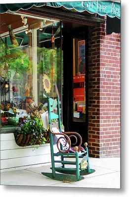 Rocking Chair By Boutique Metal Print by Susan Savad