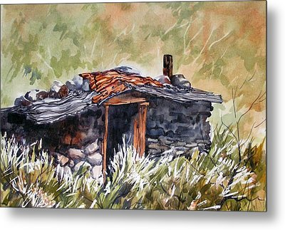 Metal Print featuring the painting Rocking Miners Cabin by Pat Crowther