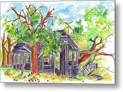 Metal Print featuring the painting Rockland Cabin by Cathie Richardson