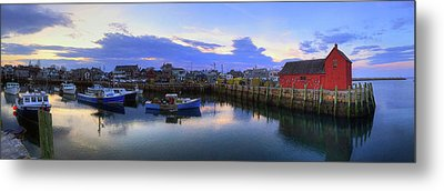 Metal Print featuring the photograph Rockport Harbor Sunset Panoramic With Motif No1 by Joann Vitali