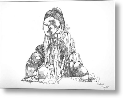 Rocks And Bodies Metal Print by Padamvir Singh