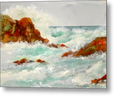 Rocks And Ocean Metal Print