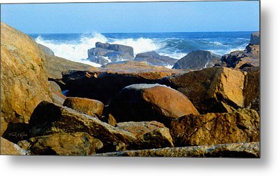 Rocks And Surf Metal Print by Frank Wilson