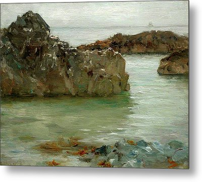 Metal Print featuring the painting Rocks At Newport by Henry Scott Tuke