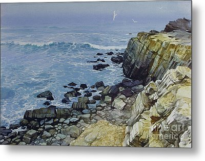 Metal Print featuring the painting Rocky Beach by Sergey Zhiboedov