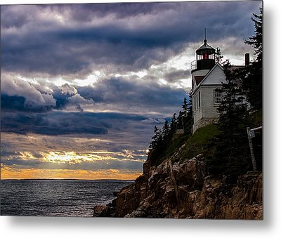 Rocky Cliffs Below Maine Lighthouse Metal Print by Jeff Folger