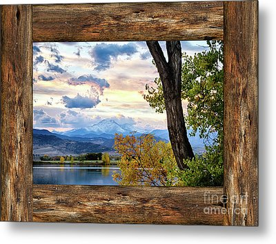 Rocky Mountain Longs Peak Rustic Cabin Window View Metal Print