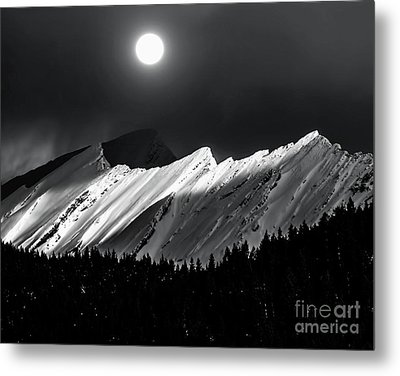 Rocky Mountains In Moonlight Metal Print