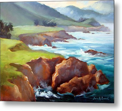 Rocky Point Afternoon Big Sur Metal Print by Karin  Leonard