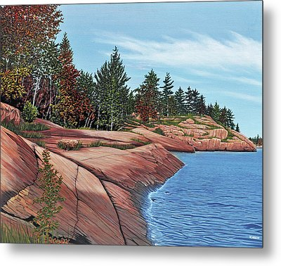 Metal Print featuring the painting Rocky River Shore by Kenneth M Kirsch
