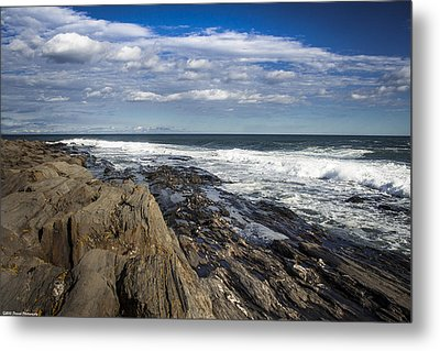 Rocky Shore Line Two Lights Maine  Metal Print