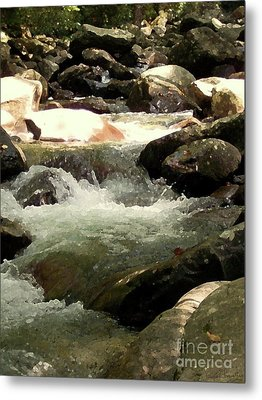 Metal Print featuring the mixed media Rocky Stream 4 by Desiree Paquette