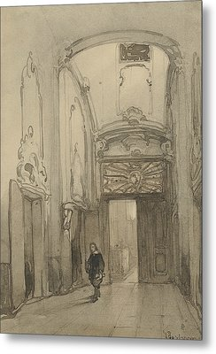 Rococo Portal In City Hall In The Hague With A Man In Seventeenth-century Costume Metal Print