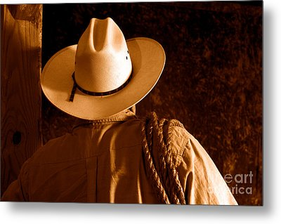 Rodeo Cowboy - Sepia Metal Print by Olivier Le Queinec