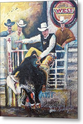 Rodeo Ride Metal Print by Linda Shackelford