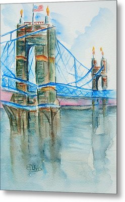 Roebling On The Ohio River Metal Print