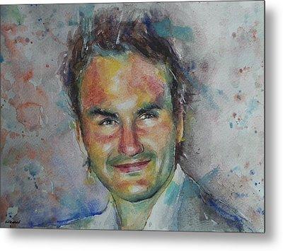 Roger Federer - Portrait 10 Metal Print