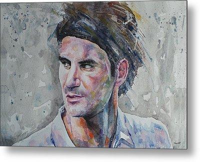 Roger Federer - Portrait 5 Metal Print