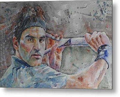 Roger Federer - Portrait 6 Metal Print