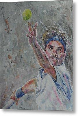 Roger Federer - Portrait 7 Metal Print
