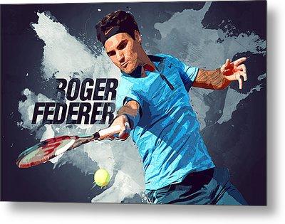 Roger Federer Metal Print by Semih Yurdabak