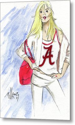 Metal Print featuring the painting Roll Tide by P J Lewis