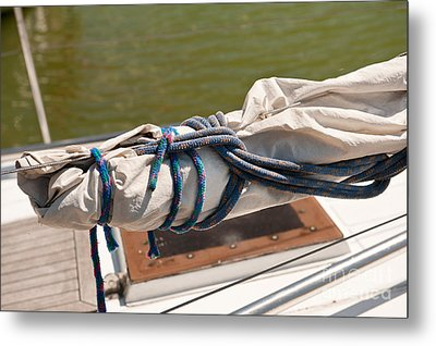 Rolled Up Mast Sail Cloth Metal Print by Arletta Cwalina