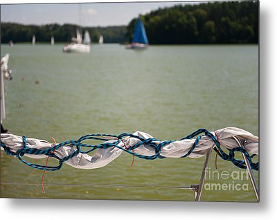 Rolled Up Mast Sail Material Metal Print by Arletta Cwalina