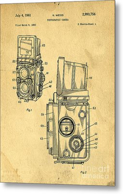 Rolleiflex Medium Format Twin Lens Reflex Tlr Patent Metal Print by Edward Fielding