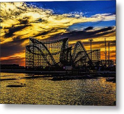 Roller Coaster Sunset Metal Print