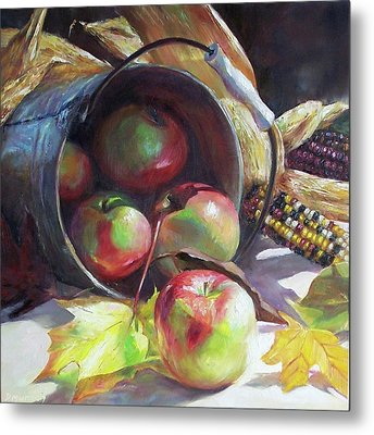 Rolling Apples Metal Print by Donna Munsch