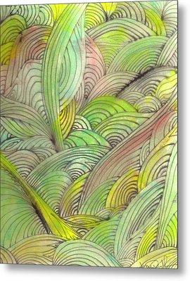 Rolling Patterns In Greens Metal Print by Wayne Potrafka