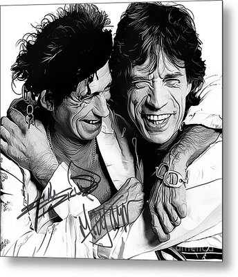 Rolling Stones Art With Autographs Metal Print