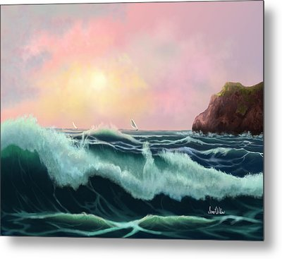 Metal Print featuring the painting Rolling Waves by Sena Wilson