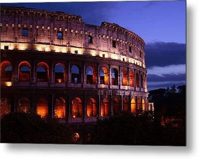 Roman Colosseum At Night Metal Print by Warren Home Decor