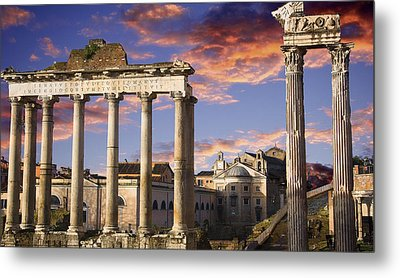 Roman Forum On Fire Metal Print