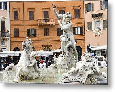 Roman Fountain Metal Print by Charles  Ridgway