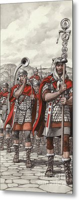 Roman Legions Marching Behind Their Standard Metal Print by Pat Nicolle