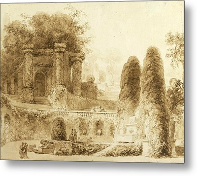 Roman Park With Fountain  Metal Print