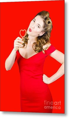 Romantic Blond Pin-up Lady Blowing Party Bubbles Metal Print by Jorgo Photography - Wall Art Gallery
