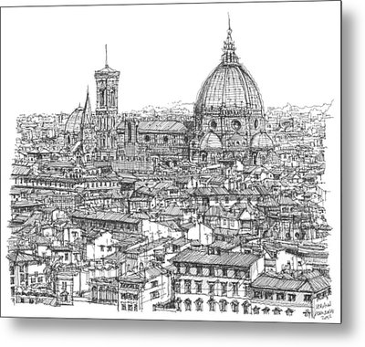 Romantic Florence Skyline In Ink Metal Print