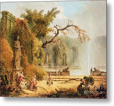 Romantic Garden Scene Metal Print by Hubert Robert
