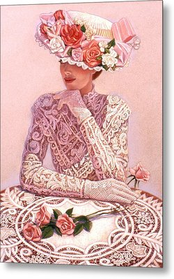 Metal Print featuring the painting Romantic Lady by Sue Halstenberg
