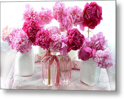 Romantic Pink Red Peonies - Shabby Chic Valentine Red Peonies  Metal Print by Kathy Fornal