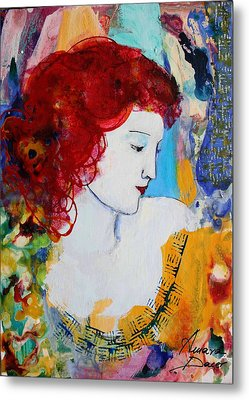 Romantic Read Heaired Woman Metal Print