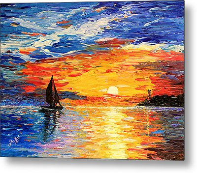 Metal Print featuring the painting Romantic Sea Sunset by Georgeta  Blanaru